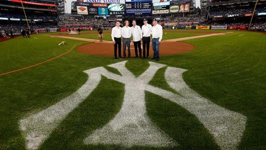 Patricio O'Ward, George Steinbrenner IV, Mike Harding, Colton Herta, and Al Unser Jr. on hand at Yankee Stadium after their announcement to run both drivers in the 2019 season