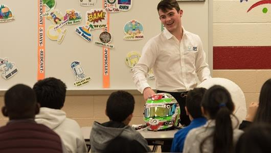 IndyCar driver Patricio O'Ward visits students to talk about the importance of Day of the Dead, celebrated in his home country of Mexico
