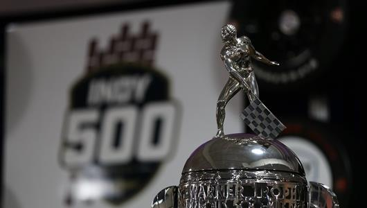 The Borg-Warner Trophy greets fans at the 100 Days Out Celebration at the Indianapolis Motor Speedway