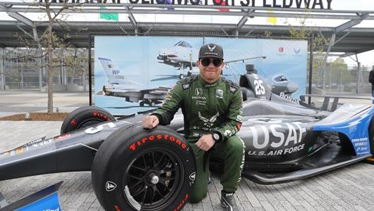 Conor Daly unveils his car livery featuring the United States Air Force for the 103rd Running of the Indianapolis presented by Gainbridge.