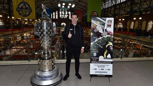 Simon Pagenaud at the 2020 Indianapolis 500 Ticket Unveil.