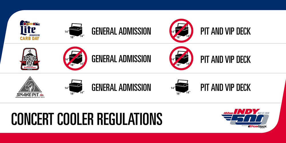 Indy 500 Concert Cooler Regulations