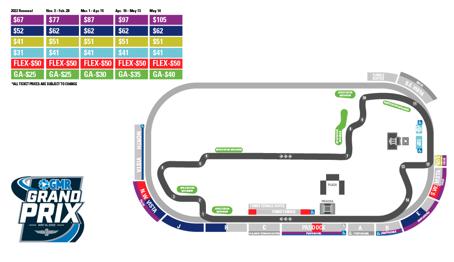 Grand Prix of Indianapolis Pricing Map
