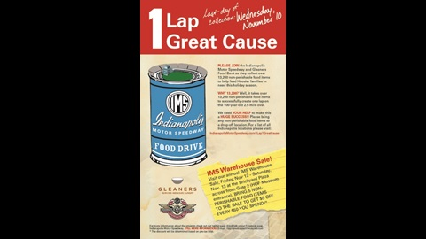 '1 Lap, 1 Great Cause' Will Lap IMS Oval With Food To Help Hungry