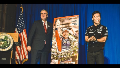 Governor Eric Holcomb and Takuma Sato