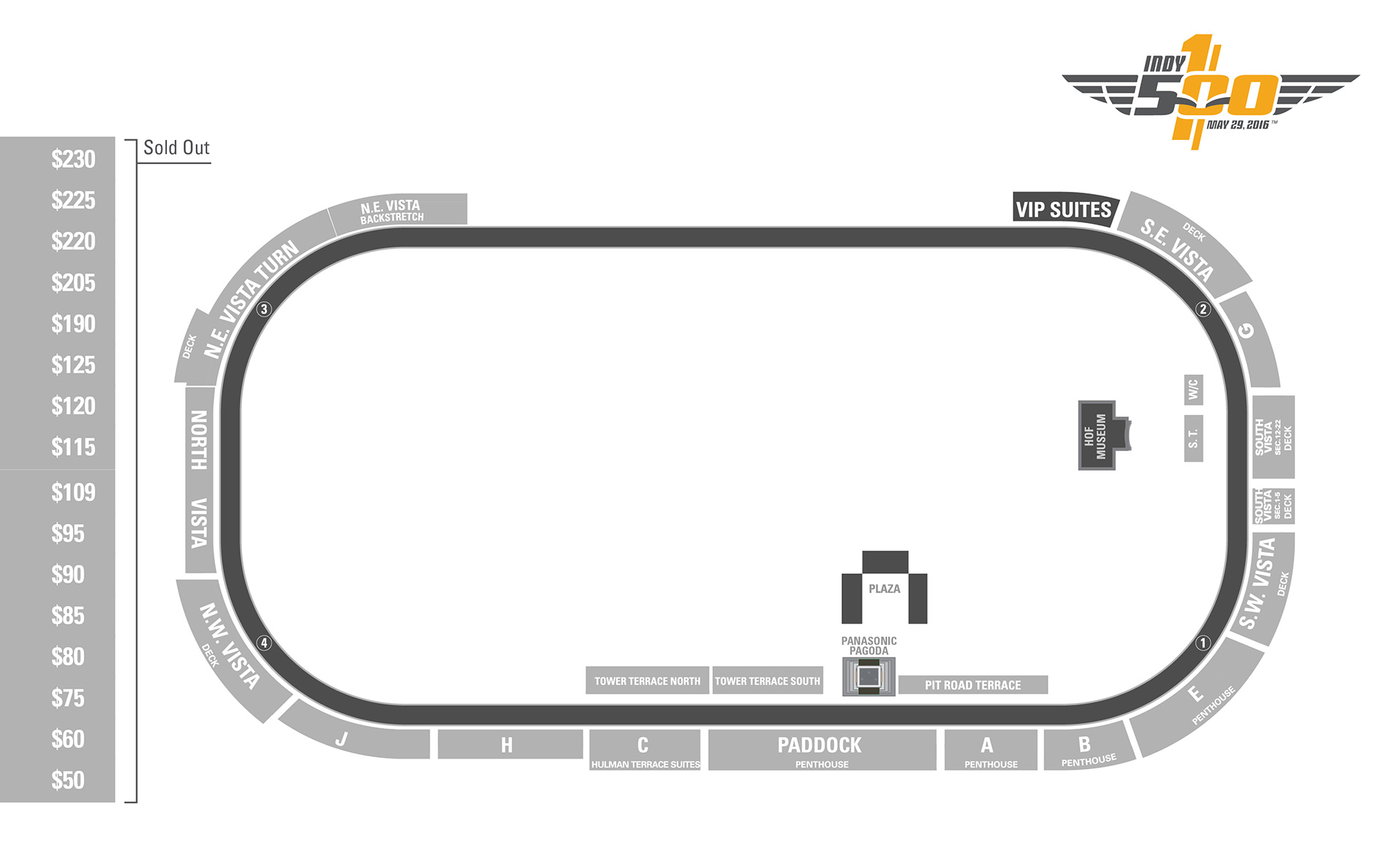 2016 indianapolis 500 ticket prices for Indianapolis motor speedway ticket office