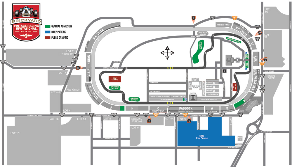 Brickyard vintage racing invitational ada parking information for Indianapolis motor speedway ticket office