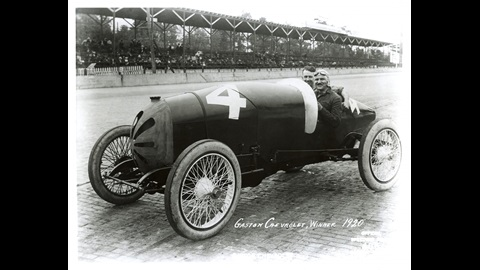 Gaston Chevrolet in the #4 Monroe (Frontenac/Frontenac)  at the Indianapolis Motor Speedway in 1920.