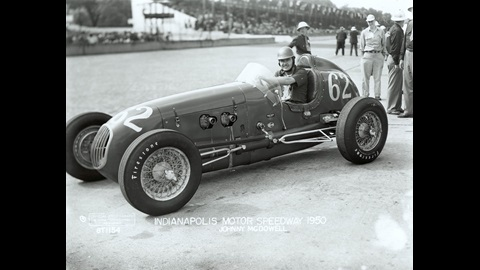 Johnny McDowell in the #62 Pete Wales Special (KK2000/Offy) at the Indianapolis Motor Speedway in 1950