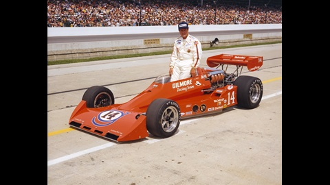 A.J. Foyt in the #14 Gilmore Racing Team Special (Coyote/Foyt) after qualifying for the 1977 Indianapolis 500 at the Indianapolis Motor Speedway.