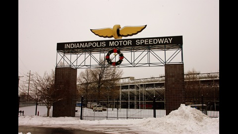 The main gate decorated for the holidays at the Indianapolis Motor Speedway.