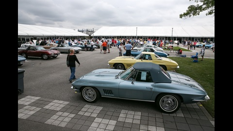 Corvettes being displayed at IMS for the Bloomington Gold Corvette Show