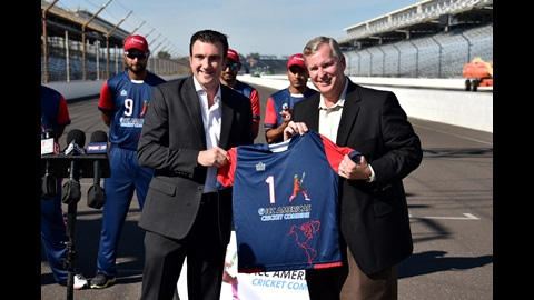 Mayor Greg Ballard and Head of Global Development, International Cricket Council Tim Anderson give a trackside demonstration at the Indianapolis Motor Speedway