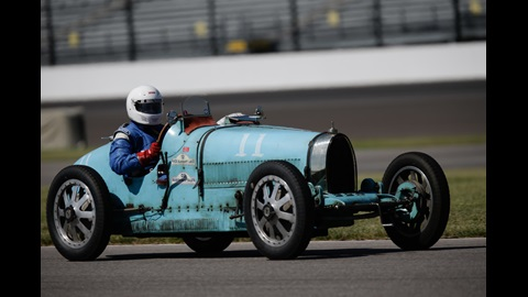 A 1925 Bugatti T 35 on track during the 2016 SVRA Brickyard Vintage Racing Invitational at Indianapolis Motor Speedway on Saturday.