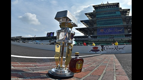 Brickyard 400 trophy with a glass of Crown Royal on the Yard of Bricks