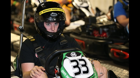 Ty Dillon is locked in as he takes to the course at Speedway Indoor Karting to race fans in a promotion for the upcoming Lilly Diabetes 250 at Indianapolis Motor Speedway.