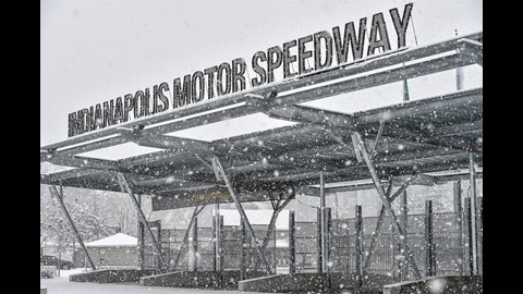 Snow falling at the Indianapolis Motor Speedway