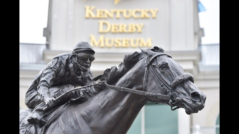 Statue and memorial of 2006 Kentucky Derby winner, Barbaro, just outside of the Kentucky Derby Museum