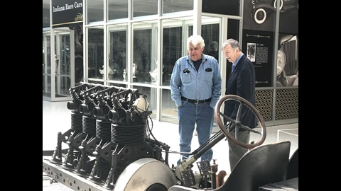Jay Leno and IMS Donald Davidson enjoy displays within the IMS Museum