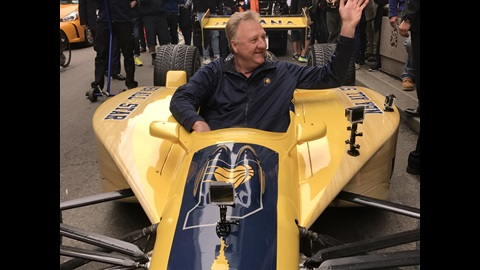 Larry Bird gives a wave to the crowd as he delivers the Indiana Pacers bid for the 2021 All-Star Game in the most Indy way possible