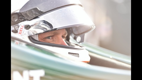 Ed Carpenter sits in his race car prior to testing at IMS