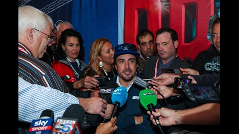Fernando Alonso chats with the media during Media Day at the Indianapolis Motor Speedway
