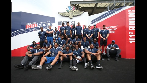 Indianapolis Colts rookies stand in Victory Podium at the Indianapolis Motor Speedway for Indianapolis 500 practice