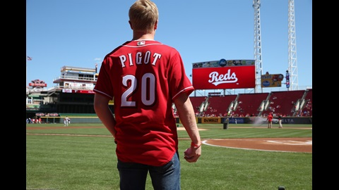 Spencer Pigot gets ready to throw out the first pitch at The Great American Ballpark in Cincinnati, OH