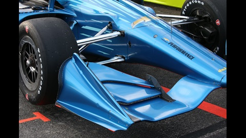 The nosecone of the 2018 universal aero kit (road/street & short oval) - Chevrolet livery