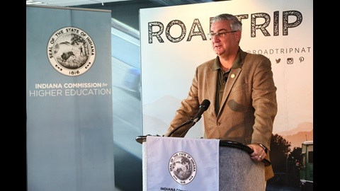 Governor Holcomb speaks with the Press about Roadtrip Indiana at the Indianapolis Motor Speedway.