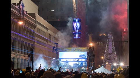 Zach Veach on stage as the 2018 Indy car drops in downtown Indianapolis to signify midnight on New Years Day